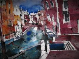 Nasser Zustand Aquarell Venedig