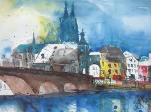 Regensburg 2007 - Aquarell von Andreas Mattern - 56 x 76 cm