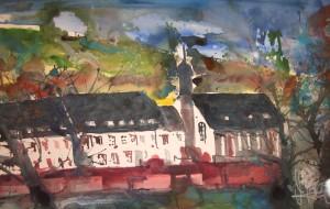 Klosterstift Neuenburg Heidelberg Aquarell von Andreas Mattern - 38 x 56 cm - 2007
