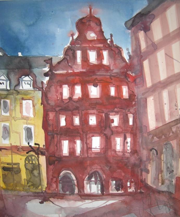 Marktplatz - Aquarell von Andreas Mattern
