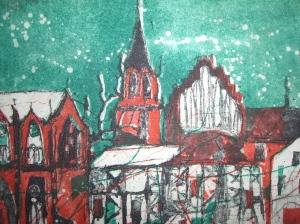 Neubrandenburg - Radierung von Andeas Mattern - 15 x 20 cm - 3 Platten Aquatinta