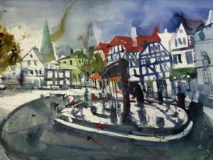 Marktplatz Kamen - Aquarell von Andreas Mattern - 56 x 76 cm
