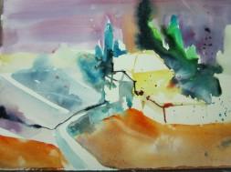 Entstehung Toskana - Aquarell von Andreas Mattern