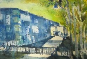 Fabrik im Ruhrgebiet Nirotek - Aquarell von Andreas Mattern - 38 x 56 cm
