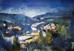 Blick auf Ziegelhausen - Aquarell von Andreas Mattern - 38 x 56 cm