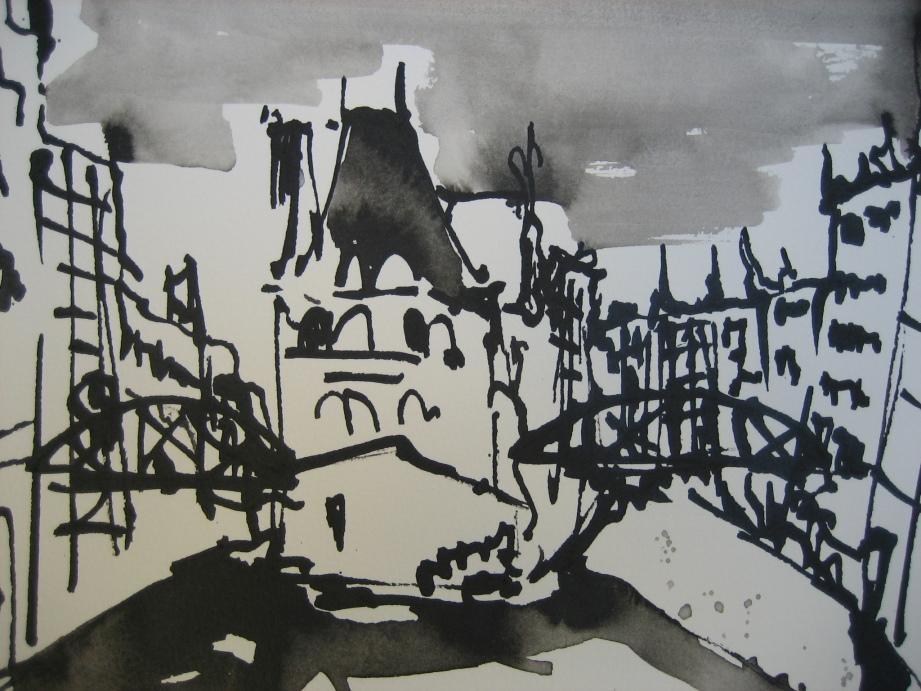Hamburg Speicherstadt 2006 - Zeichnung von Andreas Mattern - 20 x 30 cm - Tusche auf Bütten