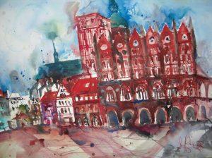 Rathaus Stralsund - Aquarell von Andreas Mattern - 56 x 76 cm - 2008