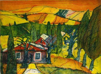 2005 Toskana - Radierung von Andreas Mattern - 3 Platten - 15 x 20 cm