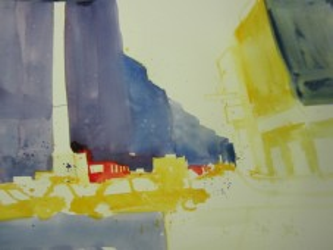 Zu gelb ein blaues grau - Entstehung Aquarell von Andreas Mattern