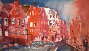Holländisches Viertel Potsdam 2007 - Aquarell von Andreas Mattern - 38 x 56 cm