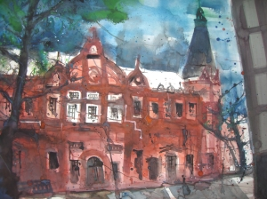 Universitätsbibliothek Heidelberg 2007 - Aquarell von Andreas Mattern - 56 x 76 cm