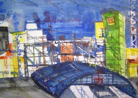 Baustelle Berlin HBF 2005 - Aquarell von Andreas Mattern - 38 x 56 cm
