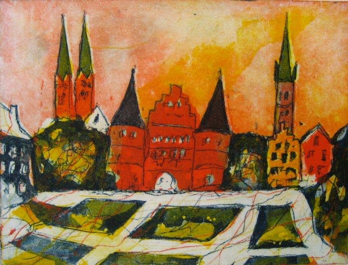 Lübeck Holstentor - 2006 - Radierung von Andreas Mattern - Aquatinta - 3 Platten