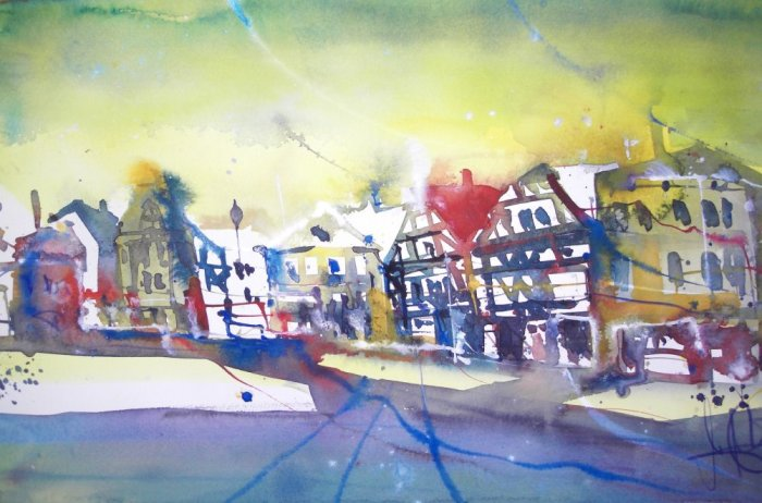 Una Marktplatz - Aquarell von Andreas Mattern