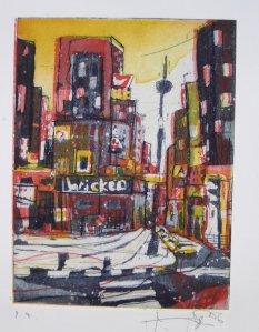 N.Y. - RAdierung von Andreas Mattern, Aquatinta, 3 Platten
