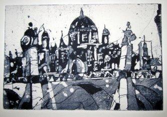 Der Berliner Dom, schwarz - Aquatinta von Andreas Mattern - 10 x 15 cm