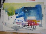 Entstehung Aquarell Elbphilharmonie von Andreas Mattern