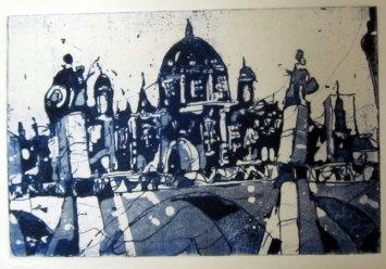 Der Berliner Dom, blau - Aquatinta von Andreas Mattern - 10 x 15 cm