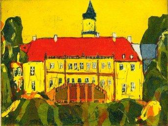 Schloss Wiesenburg - Aquatinta, 3 Platten von Andreas Mattern, 15 x 20 cm