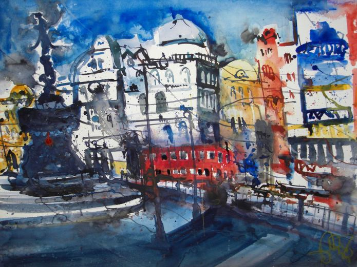 London 2008 - Aquarell von Andreas Mattern - 56 x 78 cm