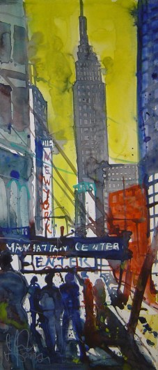 N.Y. Empire State Building 2006 - Aquarell von Andreas Mattern - 60 x 20 cm