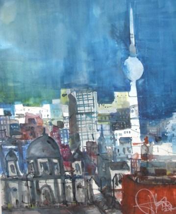 Der Fernsehturm mit Dom und Palast der Rebublik - Aquarell von Andreas Mattern - 76 x 56 cm