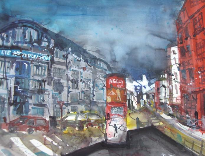 Oranienburger Straße 2007 - Aquarell von Andreas Mattern - 56 x 76 cm