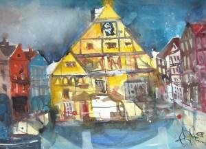 Rathaus Weiden 2007 - Aquarell von Andreas Mattern - 56 x 76 cm