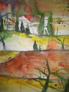 Toskana - Aquarell von Andreas Mattern - 40 x 30 cm