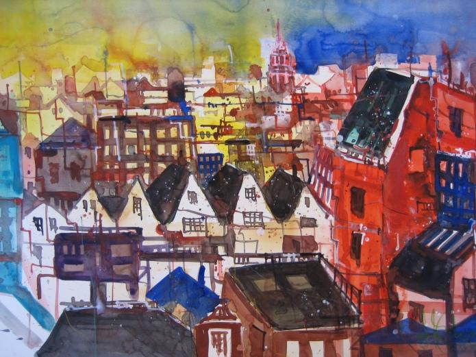 Amsterdamm 2006 - Aquarell von Andreas Mattern - 56 x 76 cm