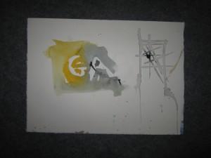 An kleinen Zeichnungen erkläre ich meinen Schülern zum Beispiel, wie man Schrift ins Aquarell setzt oder umgekehrt