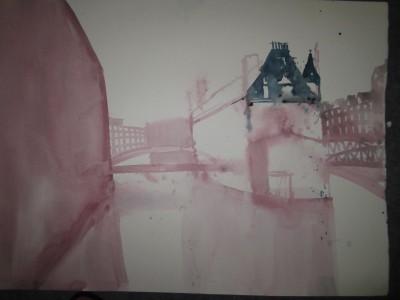 Entstehung Aquarell Speicherstadt von Andreas Mattern 56 x 76 cm