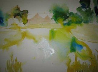 Entstehung Gut Dalwitz bei Teterow - Aquarell von Andreas Mattern - 56 x 78 cm