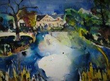 Gut Dalwitz bei Teterow - Aquarell von Andreas Mattern - 56 x 78 cm