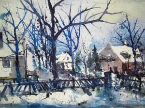 Lankwitz (Winter) Aquarell, 38 x 56 cm