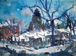 Winter in Lankwitz, Aquarell 38x56 cm, Andreas Mattern