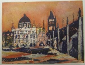 Radierung Prag