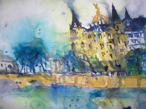 Aquarell Schloss Schwerin 56 X 76 cm