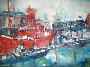 Feuerschiff Hamburg 56x76cm Aquarell