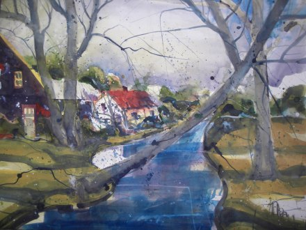 Landschaft, Aquarell 56/76 cm