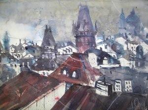 Prag Dachlandschaft, Aquarell 56/76 cm