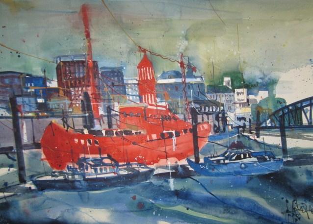 Feuerschiff - Aquarell von Andreas Mattern - 56 x 76 cm