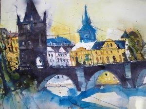 Prag, Aquarell 56/76 cm