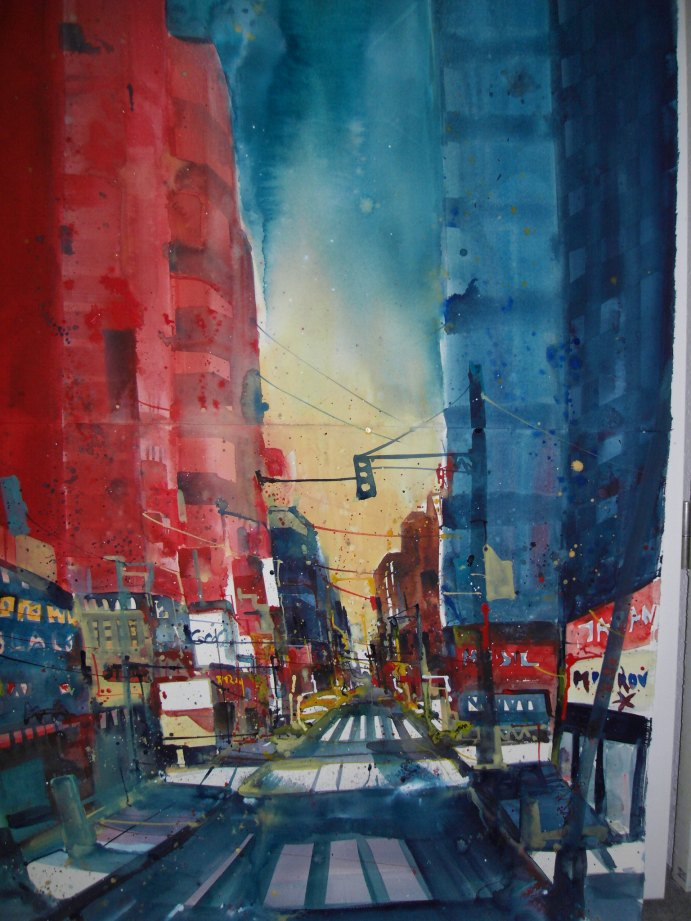 New York, Aquarell 112/76 cm , auf Fabriano 640g satiniert