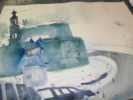 Beginn Dresden Aquarell 56/76 cm, von Andreas Mattern