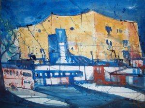 Berliner Philharmonie, Aquarell 38/56 cm von Andreas Mattern