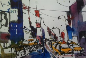 New York, T.S., von Andreas Mattern, Format 19x28cm, Aquarell/Tusche