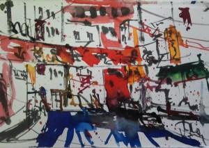 New York, Chinatown, von Andreas Mattern, Format 19x28cm, Aquarell/Tusche