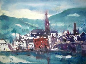 Heidelberg, Aquarell von Andreas Mattern 56/76 cm