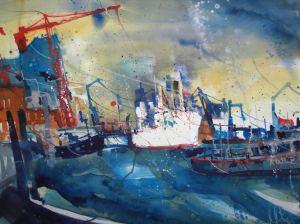 Hamburg , Cap San Diego,aquarell von Andreas Mattern 56/76 cm